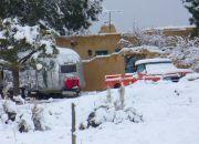 Snow on Carol's Airstream & GMC