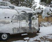 Snow on Carol's Airstream