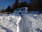 Path to 1968 Sovereign Airstream Maine Winter
