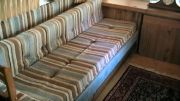 Original knobby upholstery on the sofabed.