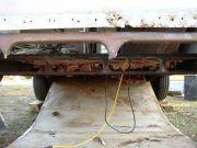 Rusted/missing rear cross member