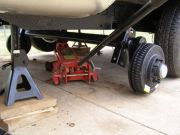 Sliding the Axles Under Coach