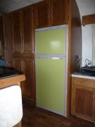 Refrigerator With Panels Painted Green and new cabinet pulls