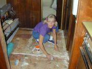 Andrea preps the floor