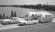 Lincoln and Ford Falcon towing Airstreams
