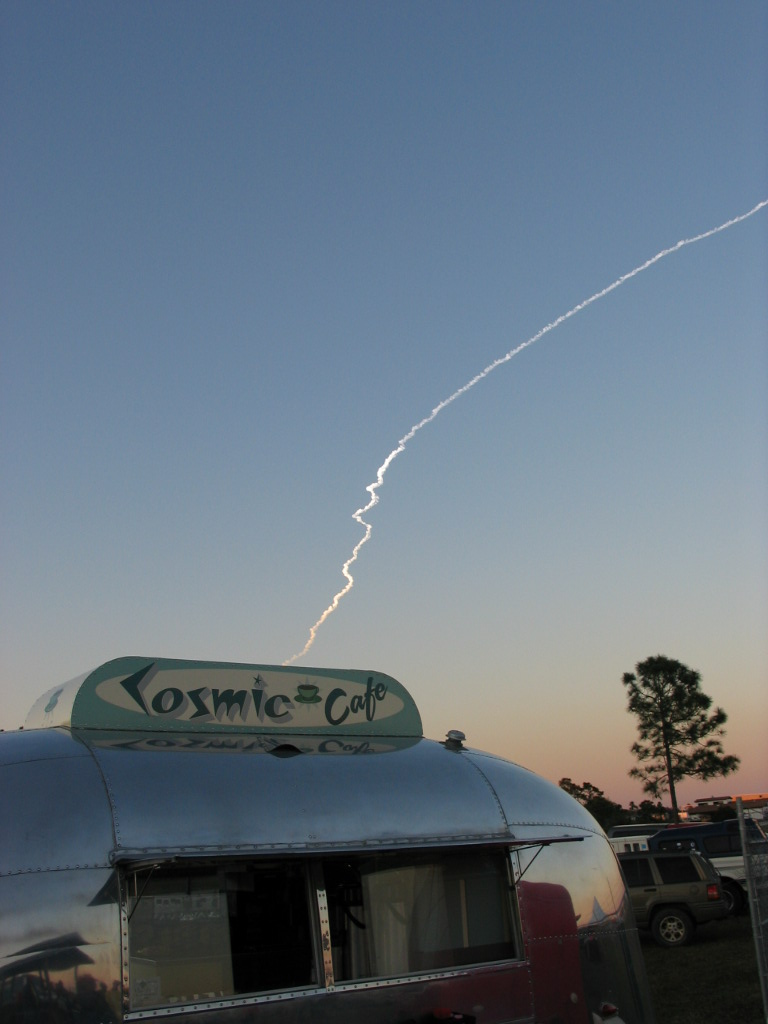 Shuttle Discovery Takes Off Above The Cosmic Cafe