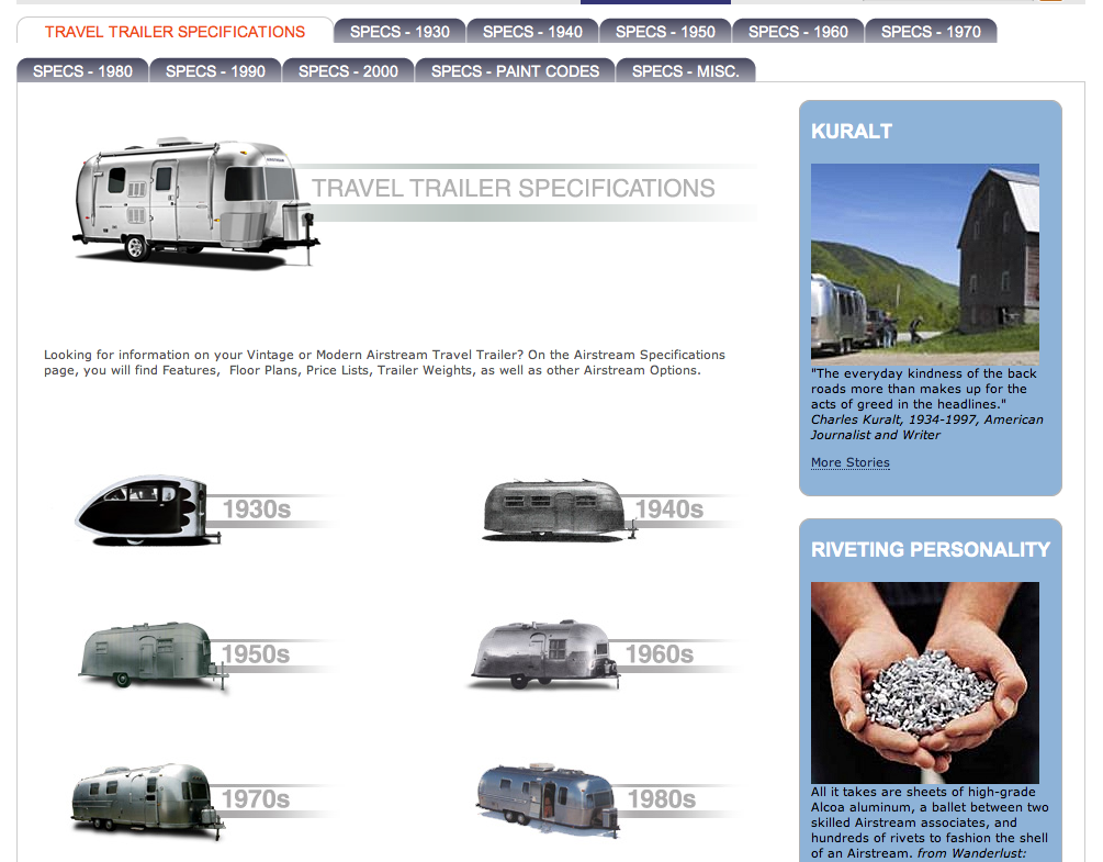 Airstream official website adds vintage trailer specs