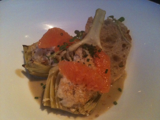 Click image for larger version  Name:Dungeness Crag Stuffed Artichoke Waterbar 022912.JPG Views:46 Size:102.5 KB ID:152882