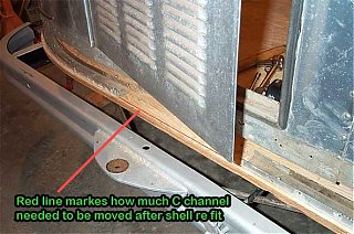 Click image for larger version  Name:Shell refit note_RRed line markes how much C channel needed to be moved after shell re fit  .jpg Views:156 Size:41.2 KB ID:17195