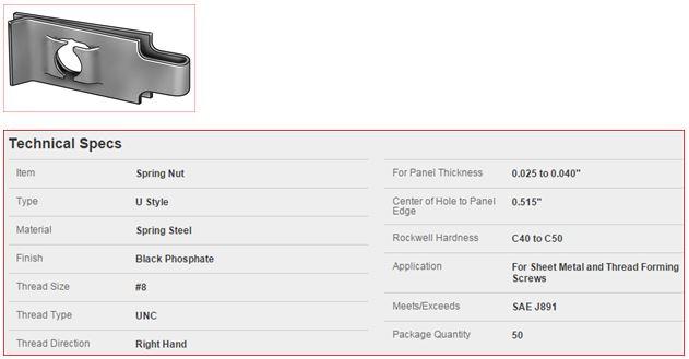 Click image for larger version  Name:U-Clip Steel Spring Nut.JPG Views:125 Size:32.1 KB ID:236937