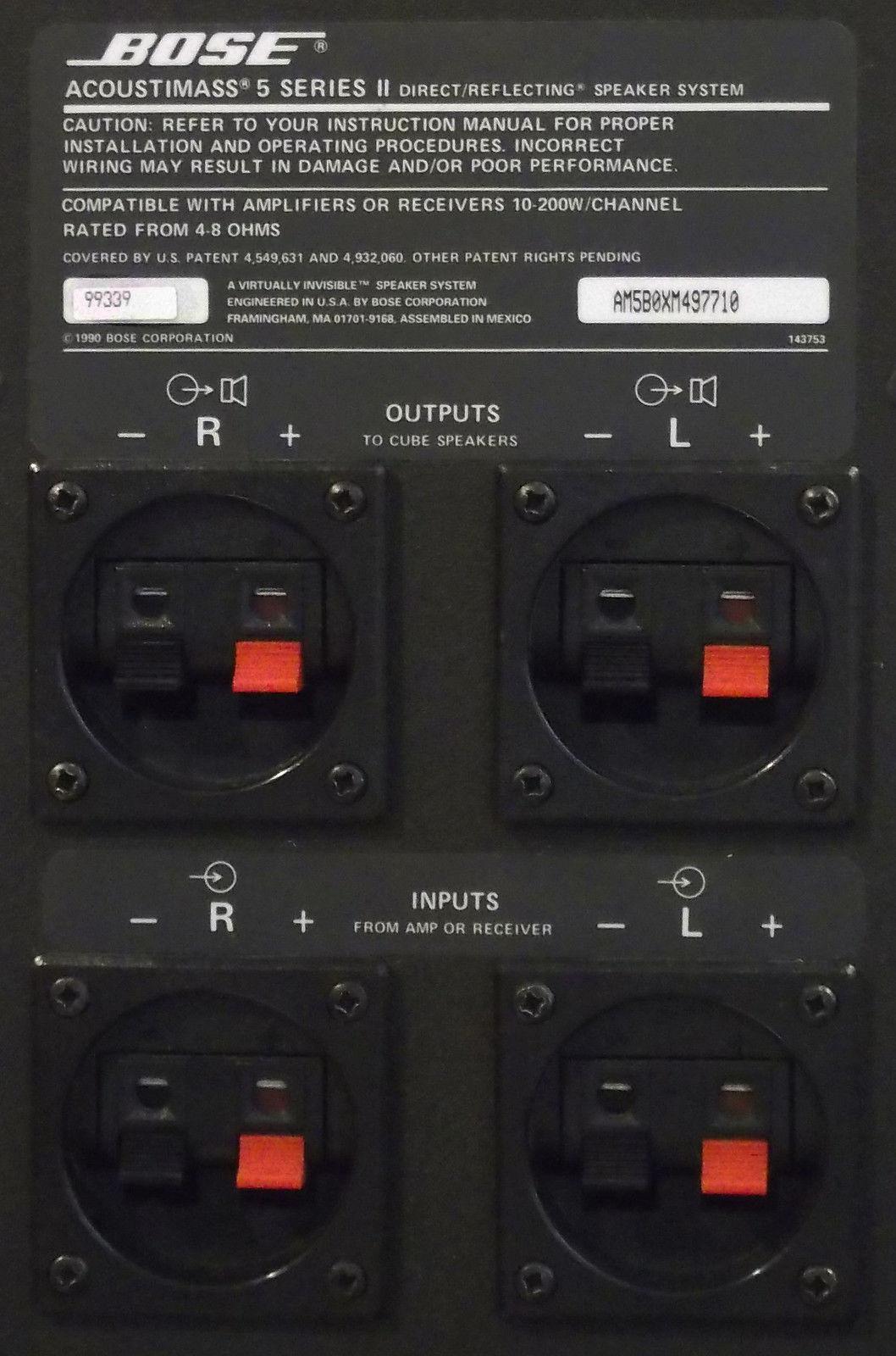 Bose Acoustimass 3 Series V Stereo Speaker System Factory 5 Wiring Diagram
