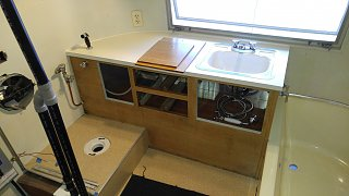 Click image for larger version  Name:Bath Cabinet Bolted In and Counter Top Bolted Down and Sprayer Installed.jpg Views:56 Size:385.0 KB ID:312259