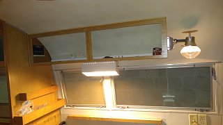 Click image for larger version  Name:Kitchen Counter Lamp with Both 12V and 120V bulbs on and Gas lamp with Glass Shade and Heat Defl.jpg Views:36 Size:146.7 KB ID:362511