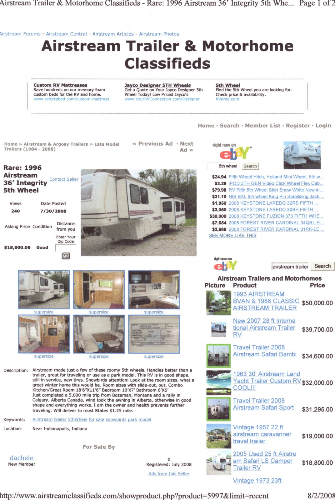 1996 Integrity 5th wheel by Airstream - Airstream Forums